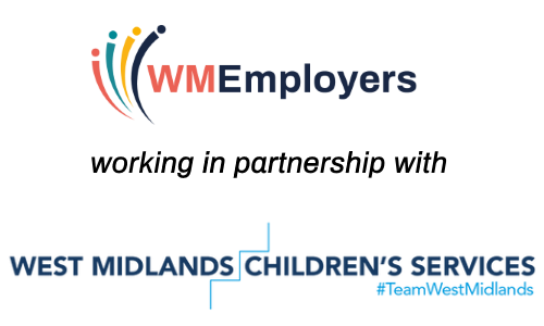 Image shows logo of West Midlands Employers and West Midlands Children's Services who have worked in partnership to deliver the site