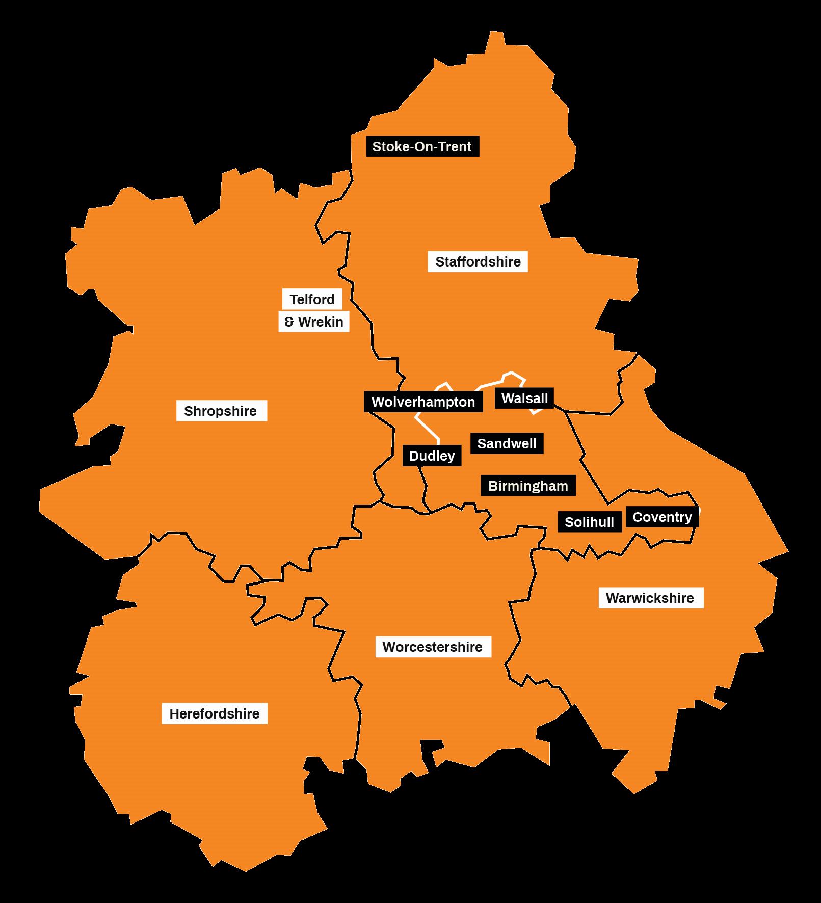 West Midlands Map - childrens services