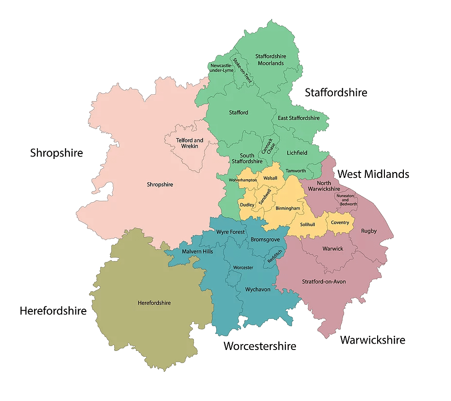 Map of the West Midlands